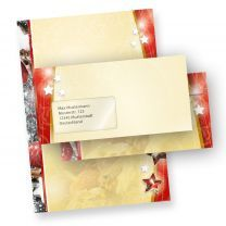 Weihnachtsbriefpapier Lebkuchen Set 2-seitig (25 Sets mit Fenster)