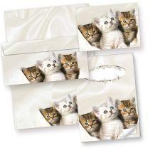 Briefpapier Katzen Set (25 Sets mit Umschläge) Geschenkset Geschenkset für Katzenfreunde