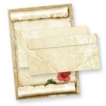 Mappe Briefpapier Set mit ROTE ROSE (25 Sets) Geschenkset Liebesbriefe