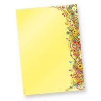 FlowerPower Briefpapier Blumen (50 Blatt) Retro Motivpapier DIN A4 beidseitig Motivpapier DIN A4