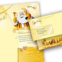 Briefpapier Set Weihnachtspost (25 Sets mit Fenster)  doppelseitig, bedruckbar für Weihnachten