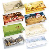 Weihnachtskarten mit Umschlägen, 8 Motive je 2 Karten,  gemischt, Sammlung