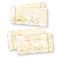 Dankeskarten Hochzeit Vintage Perlmutt (10 Sets) Danksagungskarten edel