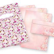 Briefpapiermappe Frühling Kirschblüten (25 Sets mit Umschläge) Geschenkset Mappe