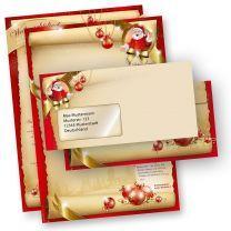 Briefpapier Weihnachten Set SANTA CLAUS beidseitig (25 Sets mit Fenster)  mit Nikolaus