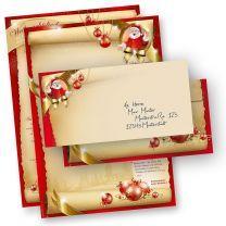 Briefpapier Weihnachten Set SANTA CLAUS beidseitig (10 Sets ohne Fenster)  mit Nikolaus