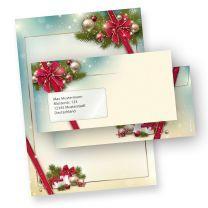 Briefpapier Weihnachten Set ROTE SCHLEIFE (25 Sets mit Fenster)  elegant mit Motiv