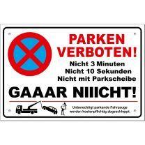 Parkverbotsschilder lustig PS01 300x200mm (2 Stück) Schild Parken verboten