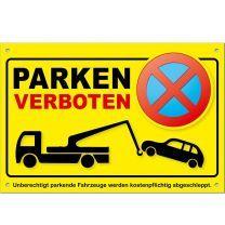 Parkverbotsschild gelb PS03 (1 Stück) Schild Parken verboten