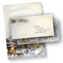 Briefpapier Set Weihnachten Winter-Aquarell (40-tlg.) mit Schreibblock und Umschläge