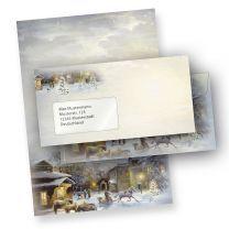 Weihnachtsbriefbogen WINTER-AQUARELL (100 Sets mit Fensterumschläge)  online bestellen