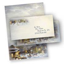 Weihnachtsbriefbogen WINTER-AQUARELL (100 Sets ohne Fenster)  mit Umschlag
