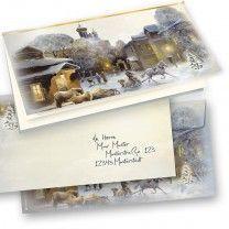 Weihnachtskarten mit Umschlag Winter-Aquarell (10 Sets)  selbst bedrucken
