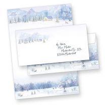 Weihnachtsbriefbogen Weiße Weihnacht (100 Sets ohne Fenster) geschäftlich