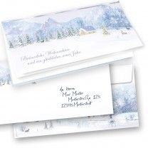 Weihnachtskarten Set Weiße Weihnachten mit Briefumschläge (100 Sets)  nostalgisch