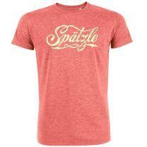 T-Shirt schwäbisch Spätzle Rot hell meliert Größe L, 100% Bio-Baumwolle