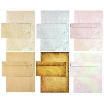 Briefpapier Set - Mix Strukturpapier - 6 x 5 Sets mit Umschläge, Briefpapiersammlung gemischt mit unseren beliebtesten Marmorpapieren