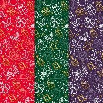 Geschenkpapier Mix für Weihnachten 3 x 4 = 12 Bogen Weihnachtspapier Bogen DIN A2 (gefalzt geliefert auf DIN A4)