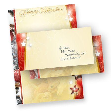 Weihnachtsmotivpapier Lebkuchen 1-seitig (100 Sets ohne Fenster) mit Umschläge