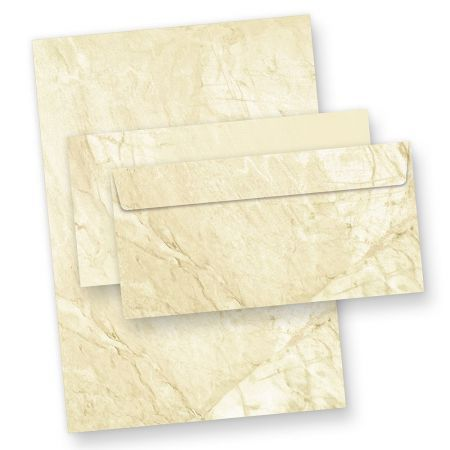 Briefpapier Set Marmor (100 Sets mit Umschläge) Marmorpapier