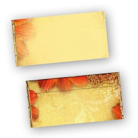 Briefumschläge Antik Blumen (50 Stück) DIN lang selbstklebend mit Haftklebestreifen Din lang haftklebend