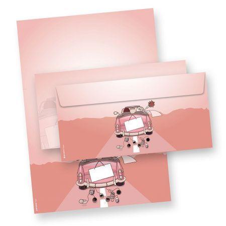 Briefpapier Set Hochzeit (25 Sets mit Umschläge) Motivpapier Set Design DIN A4