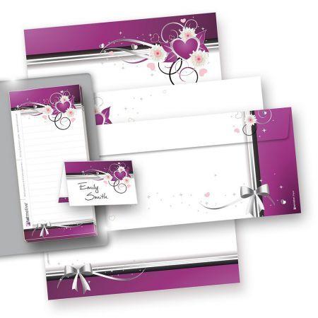 Briefpapier Set Liebesbrief lila Herzen (25 Sets) Geschenkset mit Mappe