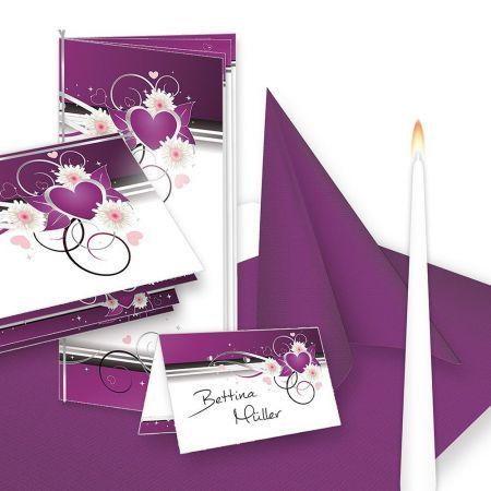 Einladung+Tischdeko Set Hochzeit Herzen (16 Gäste)