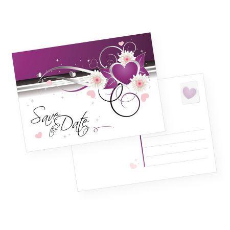 Postkarten lila - Safe the Date (10 Stück)