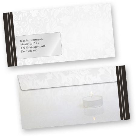 Trauer Briefumschläge (50 Stück mit Fenster)