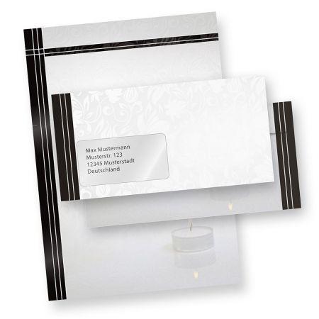 Briefpapier Trauer Set (25 Sets mit Fenster)