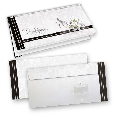 Trauer Danksagungskarten (25 Sets) inkl. Umschläge mit Einlegeblatt zum Selbstbedrucken
