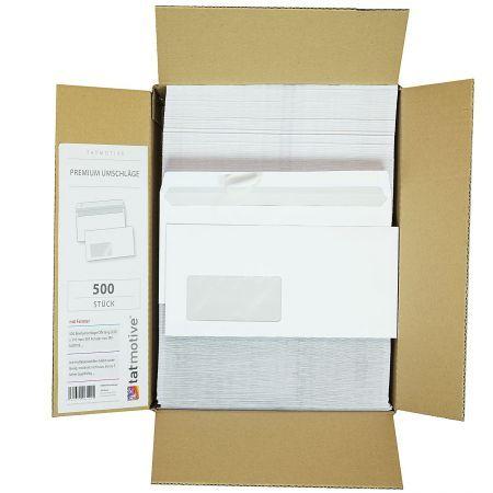 Briefumschläge DIN lang mit Fenster haftklebend (500 Stück) klebt zuverlässig bis 5 Jahre