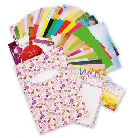 Buntes Motiv-Set (75-tlg.) Briefpapier Set gemischt Geschenkset Schreibset