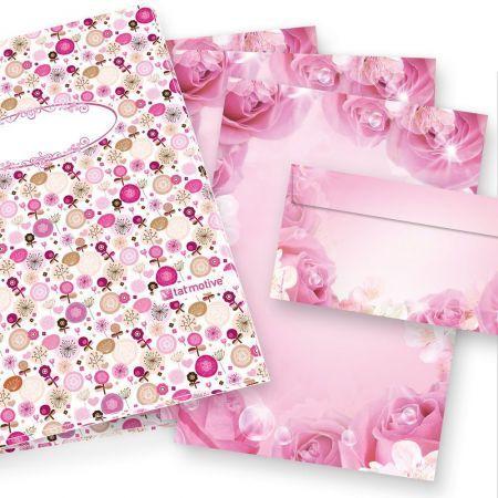 Rosen Briefpapier Set (25 Sets) Geschenkset Mappe