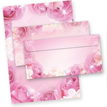 Rosen Briefpapier Set (25 Sets) Rosa Pink