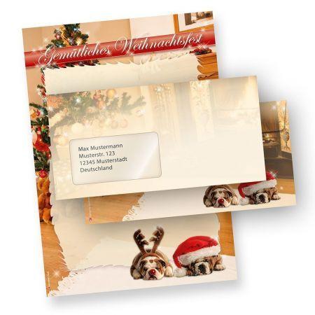 Briefpapier Weihnacht Witzige Hunde (25 Sets mit Fenster) mit Fensterumschläge