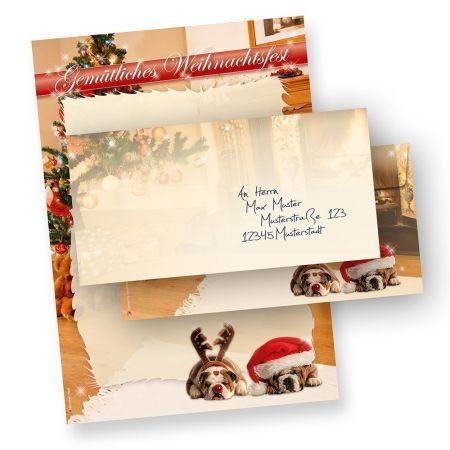 TATMOTIVE Briefpapier Weihnachten Hunde (100 Sets ohne Fenster) mit Umschlag
