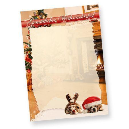 DROLLIGE HUNDE Briefpapier Weihnachten Weihnachtsbriefpapier DIN A4, 50 Blatt
