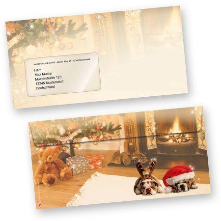 Briefumschläge Weihnachten Drollige Hunde 50 Stück DIN lang mit Fenster Behaglichkeit mit drollige Hunde auf dem Teppich, für wunderschöne Weihnachtspost