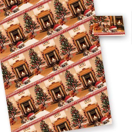 Geschenkpapier Weihnachten Drollige Hunde (10 Bogen) 50 x 70 cm (gefalzt auf 25 x 35 cm). inkl. passender Geschenkanhänger