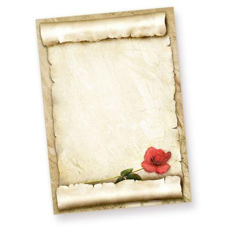 Briefpapier mit ROTE ROSE (50 Blatt)
