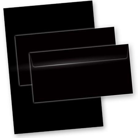 Briefpapier Schwarz (50-teilig, mit Umschläge)