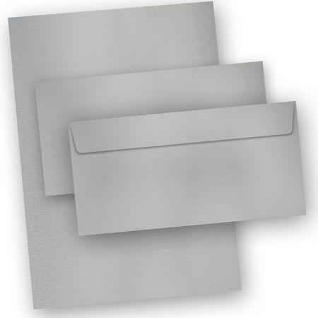 EXKLUSIV Briefpapier Silber (20 Sets inkl. Kuverts) DIN A4, 120 g/qm, Tonpapier in Metall-Silberoptik inkl. Briefumschläge (in Präsentmappe)