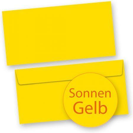 Briefumschläge Gelb (100 Stück) DIN lang selbstklebend mit Haftklebestreifen haftklebend DIN lang