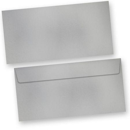 EXKLUSIV Briefumschläge Silber metallic (10 Stück) DIN lang, exklusiver Umschlag Silber, 120 g/qm