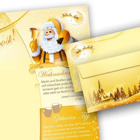 Briefpapier Set Weihnachtspost (10 Sets ohne Fenster)  doppelseitig, bedruckbar für Weihnachten