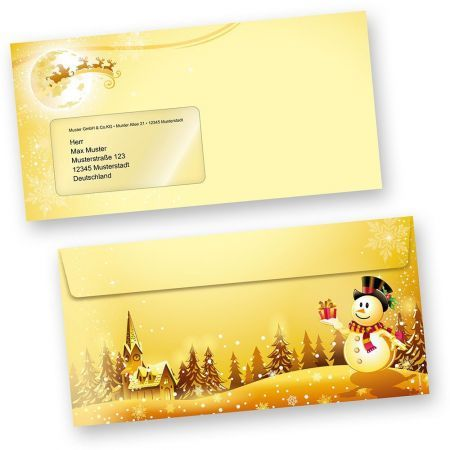 Briefumschläge Schneemann (50 Stück mit Fenster)