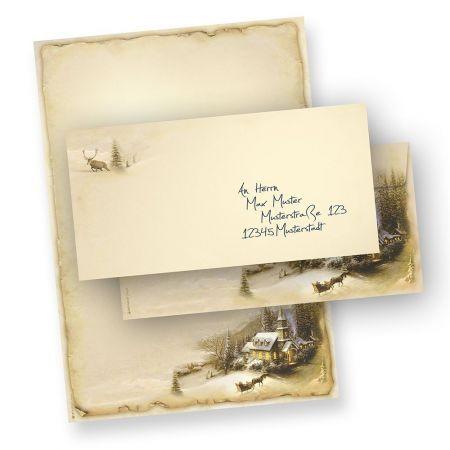 Briefpapier Weihnachten Winteridylle (500 Sets ohne Fenster)  inklusive Umschläge