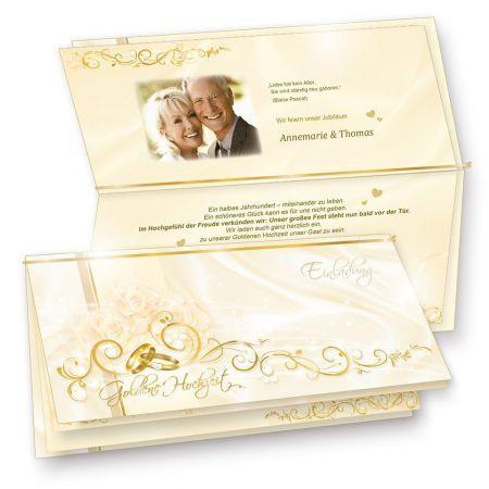 Einladungskarten Goldene Hochzeit edel (10 Sets) Einladung selbst bedruckbar